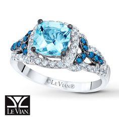 Le Vian Exotics® Sea Blue Aquamarine® Ring with Vanilla Diamonds® and Blueberry Diamonds® in Vanilla Gold®