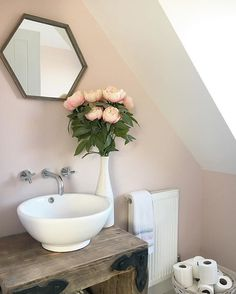 Gorgeous rustic yet feminine bathroom with vessel sink and wall mounted faucet. Pink paint on wall is CALAMINE by Farrow & Ball. Come see the Best Sophisticated, Chic and Subtle Pink Paint Colors on Hello Lovely Studio! Blush Bathroom, Feminine Bathroom, Modern Master Bathroom, Small Bathroom, Pink Bathroom Paint, Bathroom Ideas, Pink Bathrooms, Bathroom Hacks, Master Baths