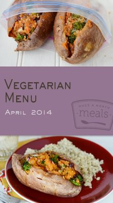 The Vegetarian April 2014 Menu brings together recipes that highlight the versatility of sweet potatoes and some of spring's early produce at its best.