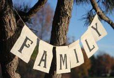 Family Burlap Banner, Made to order, Family Reunion Banner, Family bunting, phot. - The Annual Campbell Family Reunion Games- Ideas - Familie Family Reunion Decorations, Family Reunion Themes, Reunion Centerpieces, Family Reunions, Fall Decorations, Family Bbq, Family Picnic, Family Christmas, Photo Props