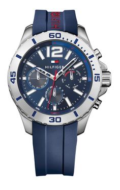 Rubber Mens Watch Men's, Size: One size, Blue Cool Watches, Watches For Men, Tommy Hilfiger Watches, Rubber Watches, Stainless Steel Case, Luxury Watches, Jewelry Watches, Mens Fashion, Bracelet