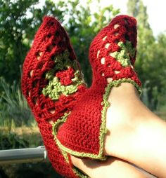 Babouches, ... by SylvChezPlum | Crocheting Pattern - Looking for your next project? You're going to love Babouches, granny-square pointy slippers by designer SylvChezPlum. - via @Craftsy
