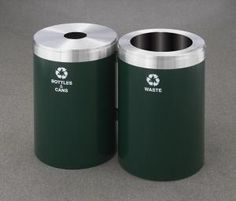 Glaro Dual Stream Connectable 15 Gallon Steel Recycling Trash Can Combo