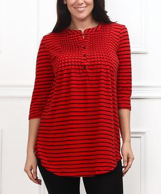 Love this Red & Black Stripe Notch Neck Tunic - Plus on #zulily! #zulilyfinds