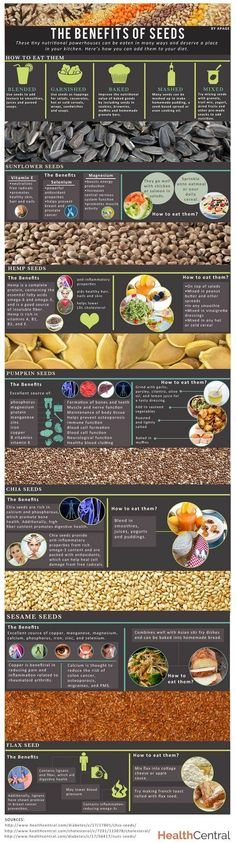 All About Seeds: Learn the Benefits of Seeds here in our #INFOGRAPHIC -->  http://www.healthcentral.com/diet-exercise/c/458275/169172/benefits-infographic?ap=2012