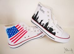 Personalized shoes / Country shoes - American shoes / New York skyline
