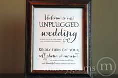 Unplugged Wedding Ceremony Sign Sign - Turn Off Cell Phone Signage - Matching Table Numbers - Wedding Guest Card SS02