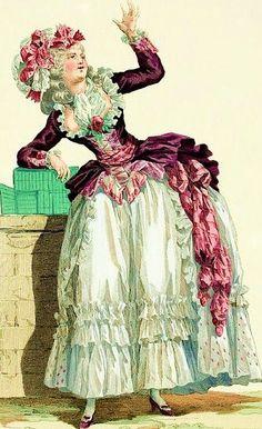 vintage illustrations of century dress Rococo Fashion, French Fashion, Victorian Fashion, Vintage Fashion, Costume Français, Costume Carnaval, 18th Century Clothing, 18th Century Fashion, 17th Century
