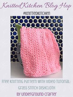 Free knitting pattern: Grass Stitch Dishcloth in Lion Brand 24/7 Cotton with video tutorial by Underground Crafter | This simple, single-color slip stitch pattern creates a subtle texture. #knittedkitchen