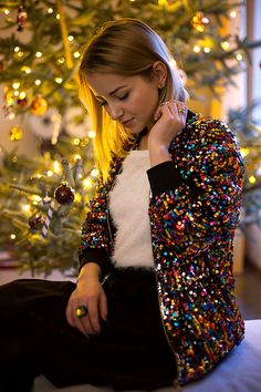 "Get this look: http://lb.nu/look/8542301  More looks by Julia Loewenherz: http://lb.nu/julialoewenherz  Items in this look:  Pretty Little Thing Riva Multi Sequin Bomber Jacket, H&M White ""Snow"" Sweater   #artistic #chic #romantic"