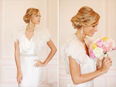 feather bolero and a very lovely updo