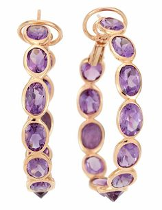 Pair of Rose Gold and Amethyst Hoop Earrings, Piranesi  18 kt., 24 oval amethysts ap. 17.20 cts., signed Piranesi,