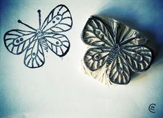 Tampon gomme à graver papillon - carved stamp butterfly