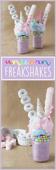 Unicorn Freakshakes Freak shakes are all the rage right now and so are unicorns so we decided to combine the two into one over the top unicorn treat Yummy Treats, Sweet Treats, Yummy Food, Milk Shakes, Unicorn Foods, Unicorn Donut, Unicorn Cafe, Snacks Für Party, Party Drinks