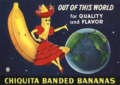 chiquita banana sticker for produce box Vintage Labels, Vintage Ads, Vintage Prints, Vintage Modern, Poster Vintage, Vintage Photos, Retro Ads, Vintage Advertisements, Honduras