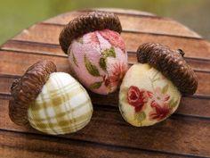 fabric stuffed acorns