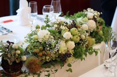 メインテーブル装花,秋,ジブリ,森 Wedding Table Flowers, Wedding Table Decorations, Bridal Flowers, Flower Bouquet Wedding, Flower Decorations, Wedding Notes, Wedding Coordinator, Wedding Images, Green Wedding