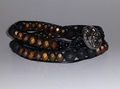 "Double-Wrap on 1.5 mm Black Leather Bracelet    Czech Glass & Black Lava Beads    Round Blastic Button    15"" in Length 