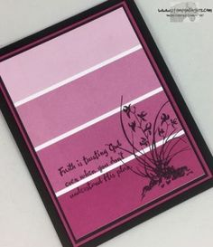 handmade greeting card from Stamps – n - Lingers ... looks like faux paint chip background ... colors of violet ... Stampin' Up!