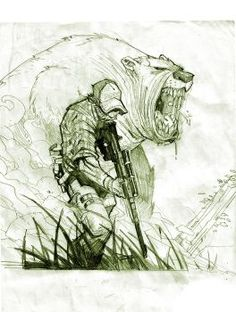 Two things that you never want to hunt you a bear or a pissed off redneck. Character Sketches, Character Art, Cool Drawings, Drawing Sketches, Sketching, Arte Obscura, Arte Sketchbook, Comic Art, Comic Books Art