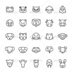 25 Outline Stroke Animal Icons — Photoshop PSD #elephant #pig • Available here → https://graphicriver.net/item/-25-outline-stroke-animal-icons/8179724?ref=pxcr