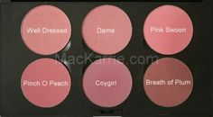 MAC blush: Top Row: Well Dressed, Dame, Pink Swoon - Bottom Row: Pinch o Peach, Coygirl, Breath of Plum