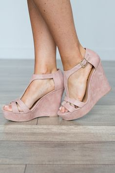 78535d2bf7 Shop our Kelsey T-Strap Suede Wedge. Available in Grey and Blush. The  perfect wedges to wear with a sundress! Always free shipping on all US  orders.