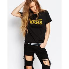 Vans Authentic Rock Boyfriend T-Shirt With Classic Logo (115 ILS) ❤ liked on Polyvore featuring tops, t-shirts, black, relaxed tee, rock t shirts, relaxed fit tee, jersey tee and vans tees