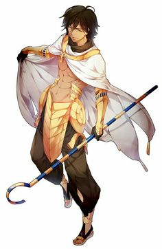 How I see Amir Nimr. ankh armor brown_hair cape crook_and_flail dark_skin fate/prototype:_fragments_of_blue_and_silver gauntlets heru_(goldprin) highres midriff rider_(fate/prototype_fragments) solo staff yellow_eyes Hot Anime Boy, Anime Guys, Dnd Characters, Fantasy Characters, Character Concept, Character Art, Mago Anime, Oc Manga, Cosplay Anime