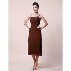 Sheath/Column Spaghetti Straps Tea-length Chiffon Mother of the Bride Dress With Embroidery – US$ 129.99