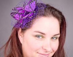 Purple Fascinator- Purple Butterfly -Small
