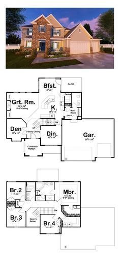 New House Plan 41179 | Total Living Area: 2332 sq. ft., 4 bedrooms and 2.5 bathrooms. #newhouseplan