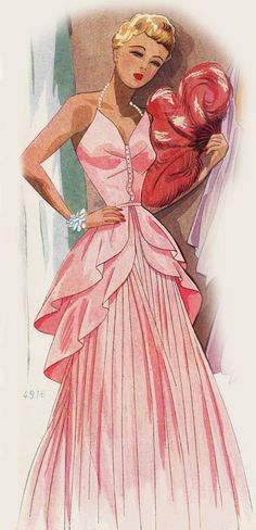Vintage Sewing Pattern 1940's Evening Gown in Any Size by Mrsdepew