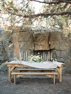 Bench wedding table: http://www.stylemepretty.com/2015/01/08/four-elements-wedding-inspiration/ | Photography: Ashley Bosnick - http://ashleybosnick.com/