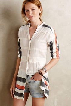 Striped Gauze Buttondown Tunic - anthropologie.com