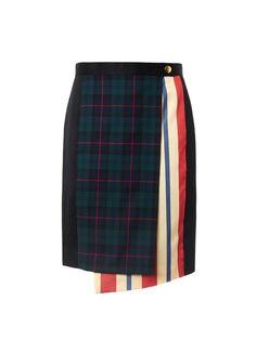 Undercover Tartan and stripe wrap skirt