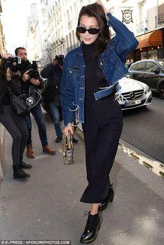 Bella Hadid wearing Dior Lady Dior Bag, Dr. Martens Persephone Boots and Reemami Spring 2017 Jacket
