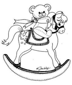 Toy Animal coloring page | Kids Rocking Horse | cricut | Pinterest ...