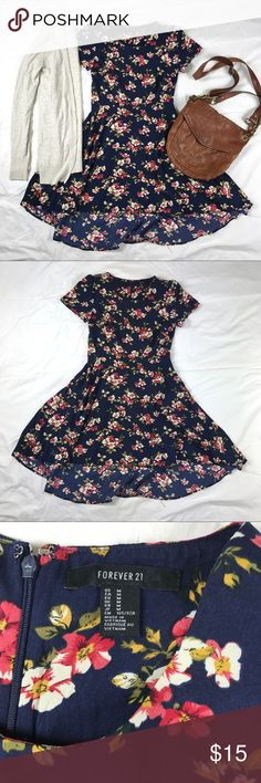 Navy Floral Hi Low Dress Super cute navy and floral print high low dress. With zipper closure up the back. A line. Flowy skirt. DRESS ONLY Forever 21 Dresses High Low
