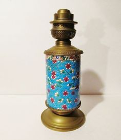 ANTIQUE Longwy Enamel French Faience and Brass Base Fluid Lamp from Yesteryears Accents on Ruby Lane