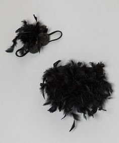 Take a look at this Black Feather Bloomers & Headband by Bébé Oh La La on #zulily today!