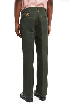 Ben Davis × Opening Ceremony, Trim Fit Pants Ben Davis' original twill blend pant in olive green is updated with contrast yellow topstitching and contoured side pockets., Zip fly, button closure, Single welt back pockets with button closure, Belt loops, Straight fit, 50% polyester, 50% cotton, Domestic