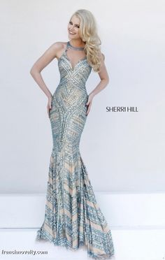 Sherri Hill 1959 Fully Beaded Evening Dress- Floor length fully beaded evening dress.