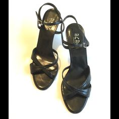 BCBG Paris Black Heels, Size 6.5 Sexy and comfortable black heels by BCBG Paris.  Wear with jeans, skirt or a dress.  Heel height 3 inches.  Good used condition with wear on heels as shown in picture. BCBG Paris  Shoes Sandals