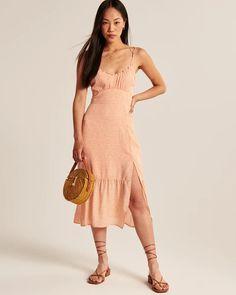 Women's Tie-Strap Ruched Midi Dress | Women's Dresses & Jumpsuits | Abercrombie.com Women's Dresses, Summer Dresses, Jumpsuit Dress, Jumpsuits, Tie, Fashion, Overall Dress, Overalls, Moda