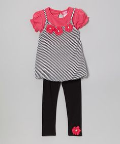 Diva Dark Pink Stripe Layer Tunic & Leggings - Infant, Toddler & Girls by Diva #zulily #zulilyfinds