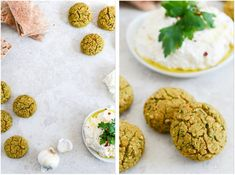 Baked Falafel with Spicy Feta Dip I howsweeteats.com -Wendy Schultz via How Sweet It Is onto Appetizers, Dips and Salsas.