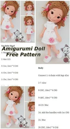 Free Amigurumi Crochet Doll Pattern and Design ideas – Page 8 of 37 – Daily Crochet! Free Amigurumi Crochet Doll Pattern and Design ideas – Page 8 of 37 – Daily Crochet!Free cute amigurumi patterns 25 amazing crochet ideas for beginners to make ea Doll Amigurumi Free Pattern, Crochet Dolls Free Patterns, Amigurumi Doll, Crochet Doll Clothes, Crochet Doll Dress, Stuffed Toys Patterns, Crochet Projects, Barbie, Magic Ring