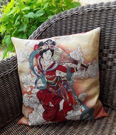 Grande housse de coussin carré, tissu tissé motif japonisant, une jolie geisha et toile de coton rouge,décoration du salon,thème exotisme
