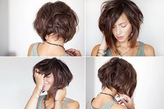 Her ENTIRE hair routine. It seriously is everything I want my hair to be. Page needs translated. New hair idea for summer! Pretty Hairstyles, Bob Hairstyles, Short Haircuts, Beautiful Haircuts, Easy Hairstyle, Medium Hair Styles, Curly Hair Styles, Corte Y Color, Short Hair Cuts For Women